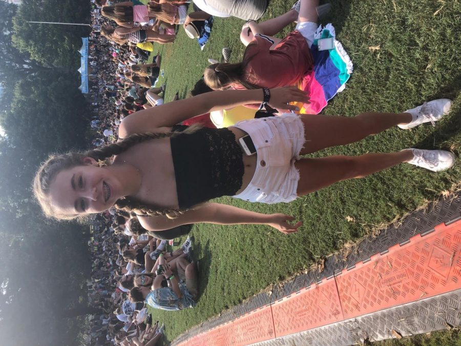Freshman Kayla Vale chose a toned down black and white look for her first year at music midtown.