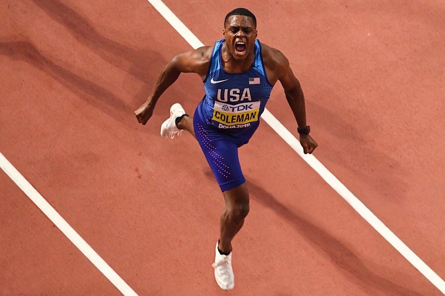 Christian Coleman celebrates as he finishes his 100m race at the IAAF World Championships in Doha, Qatar on Sept. 28, where he won. His world leading time of 9.76 seconds in the 100m makes him the third fastest American man of all time.