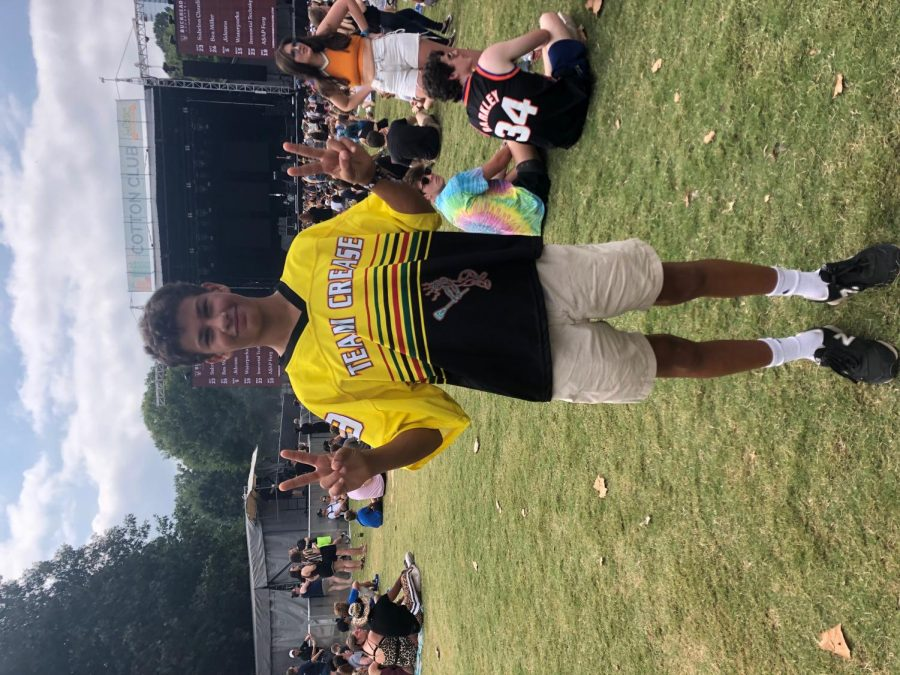 Sophomore Teddy Suazo sported this team crease jersey on the first day of music midtown. The breathable style and bright representations make jerseys a popular choice.