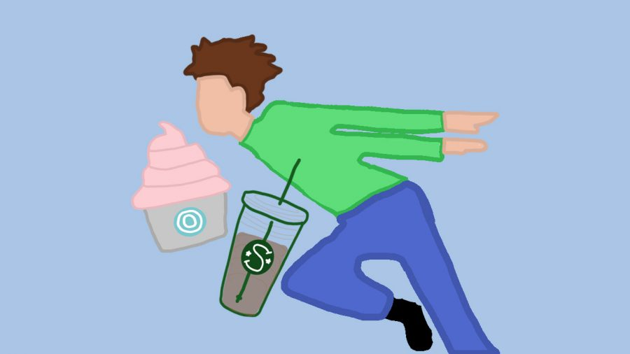 A Naruto-running middle schooler is pictured with a Starbucks cup and some frozen yogurt.