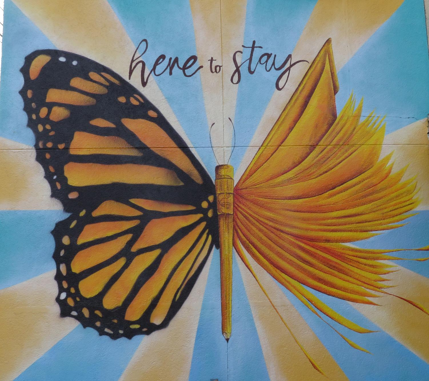 #Here to stay: This mural at the Latin American Association is a design by Yehimi Cambron, an Atlanta based artist and DACA advocate. Cambron uses her platform to promote immigrant rights.