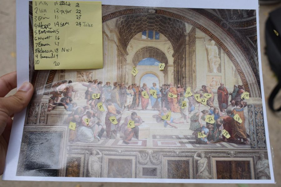 On October 18, Mrs. Loomans AP European History class went outside to recreate the Renaissance painter, Raphaels School of Athens as part of an annual tradition. Pictured is the image they are recreating.