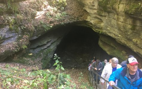 Visitors exit Mammoth Cave, after being led on a two and a half hour Extended Historic Cave tour. The tours are the only way to visit inside the cave.