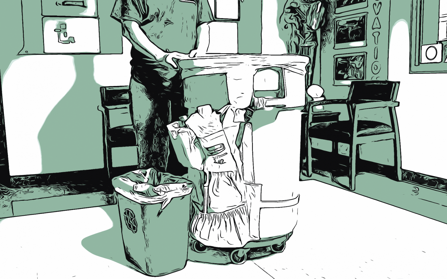 The contracted night custodial staff throws out the waste from  the small recycling bins into the large trash cans sent to landfills after school. Recycling at school, and all over the  world, is facing environmental challenges and social pushback.