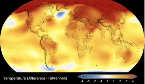 The map above shows the current temperature difference across the globe. Most of the areas are either dark red, orange, or yellow. This is a sharp contrast from earlier years, which pictured mostly blue, white and some yellow spots.
