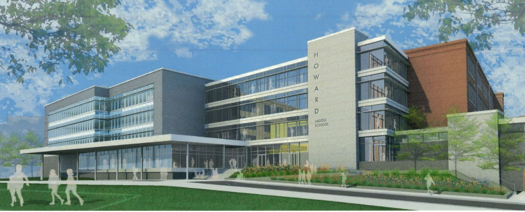 An architectural rendering of the new addition to the renovated historic Howard building. The building will reopen next fall as the new Howard Middle School, replacing Inman Middle School, which is Grady's current feeder school.
