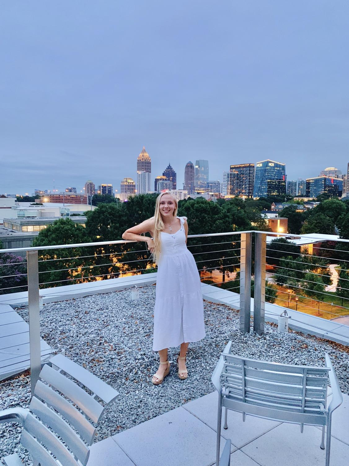 Brown stands on the roof of the Clough undergraduate learning center (CULC) after her first week at Tech. Many students study outside here.