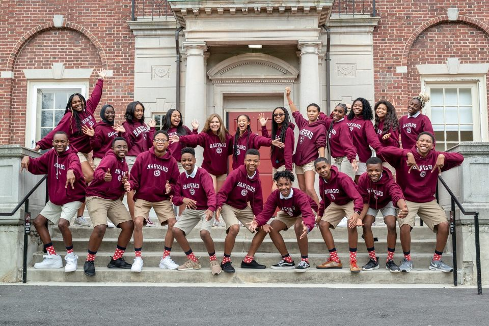 Members of the Harvard Debate Council Diversity Project take a group photo at Harvard University.