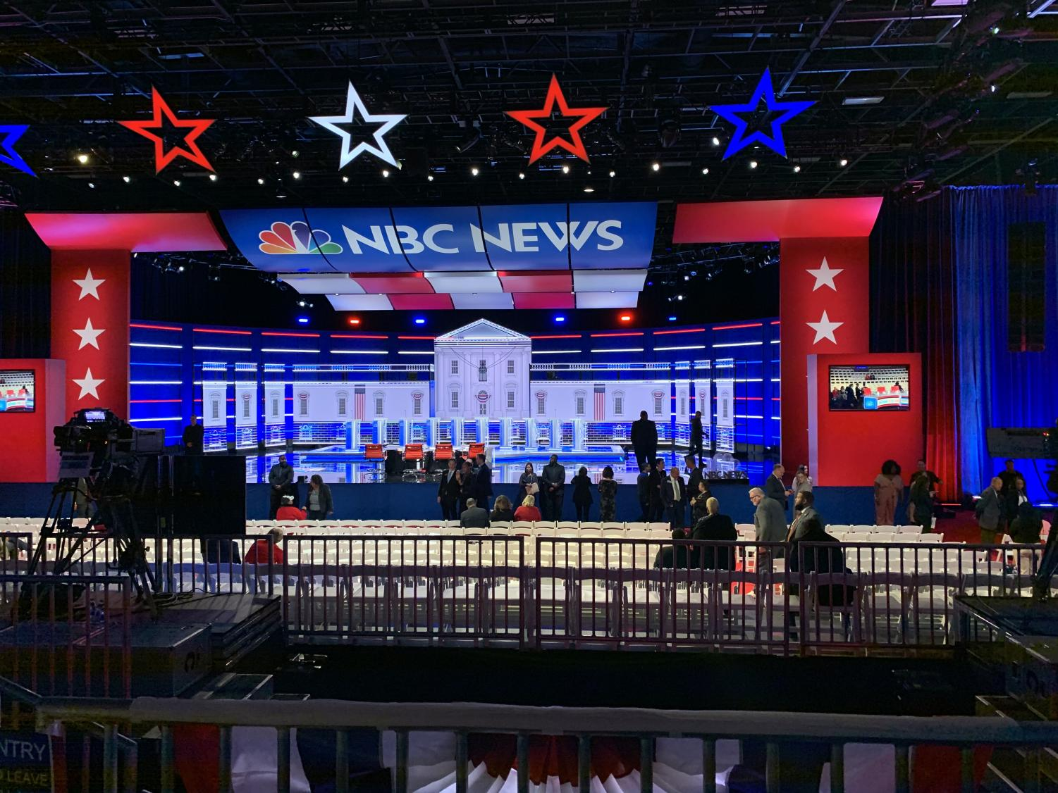 Preparations take place for the Fifth Democratic Debate at Tyler Perry Studios in Atlanta. This debate highlighted contrasts among candidates but also offered the most even playing field since the primary began.