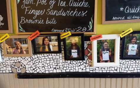 Dr. Bombay's tea house in Candler Park displays pictures of women who graduated college with the help of the Learning Tea, a project the tea house helps fund.