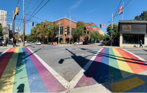 The rainbow crosswalk at the corner of 10th Street and Piedmont Avenue was painted in 2017 in honor of the 49 victims of the Pulse night club shooting in Orlando, FL.