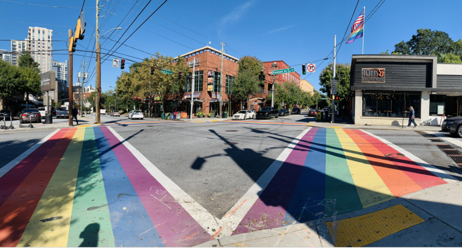 The+rainbow+crosswalk+at+the+corner+of+10th+Street+and+Piedmont+Avenue+was+painted+in+2017+in+honor+of+the+49+victims+of+the+Pulse+night+club+shooting+in+Orlando%2C+FL.+