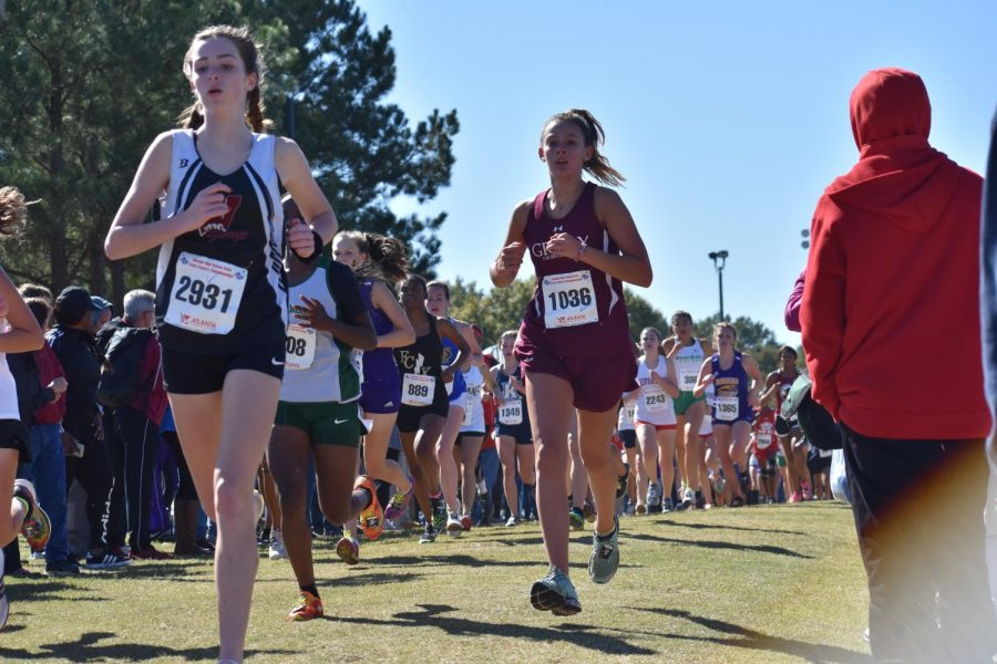 Freshman Jamie Marlowe paces herself in the state 5A meet on Nov. 1. Marlowe finished 71st overall and 5th for the Knights. The Knights got 8th place in the meet.