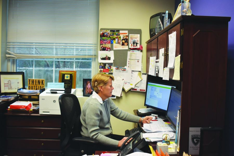 Dr. Bockman works in her office. She joined Grady in 2016 after the departure of principal Timothy Guiney.