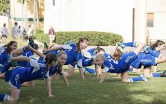 Jordan Tucker's IAFC soccer team stretches at the ESPN Disney tournament two years before her hip injury. Tucker says she that during her 13 year soccer career, her coaches didn't stress the importance of stretching.