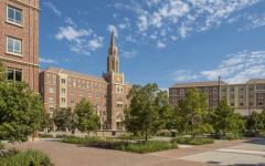 The USC campus village  is made up of 6 buildings. Students can be seen biking and skateboarding around the campus.