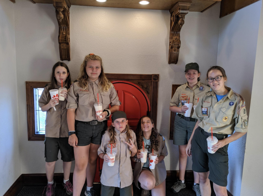 Hill (far right) and her troop go on regular nature trips, a quality which drew them to Boy Scouts in the first place.