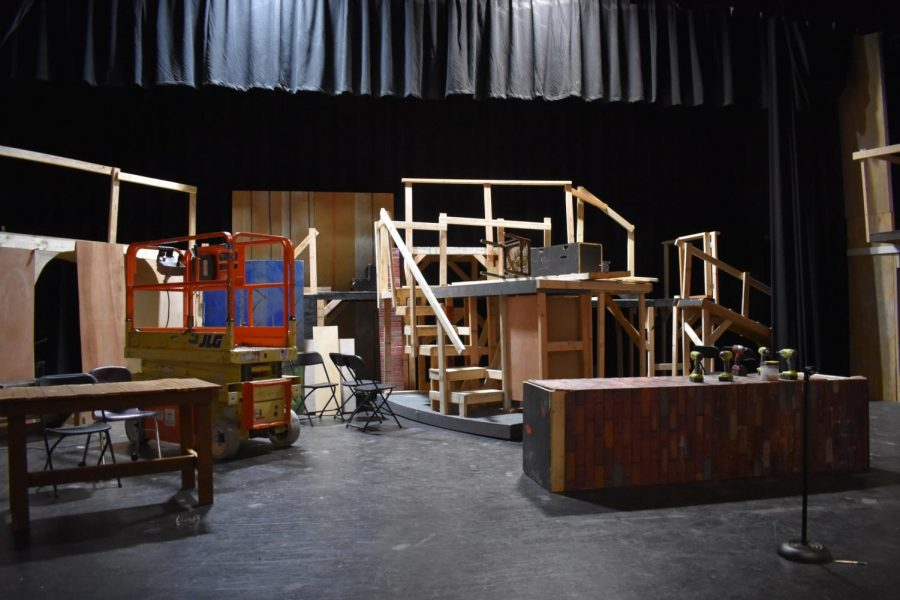 """The main set for """"Sweeney Todd"""" was under construction in the Vincent Murray Auditorium before the show was postponed indefinitely due to COVID-19."""