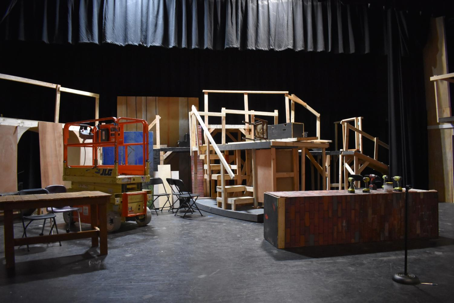 The+main+set+for+%E2%80%9CSweeney+Todd%E2%80%9D+was+under+construction+in+the+Vincent+Murray+Auditorium+before+the+show+was+postponed+indefinitely+due+to+COVID-19.