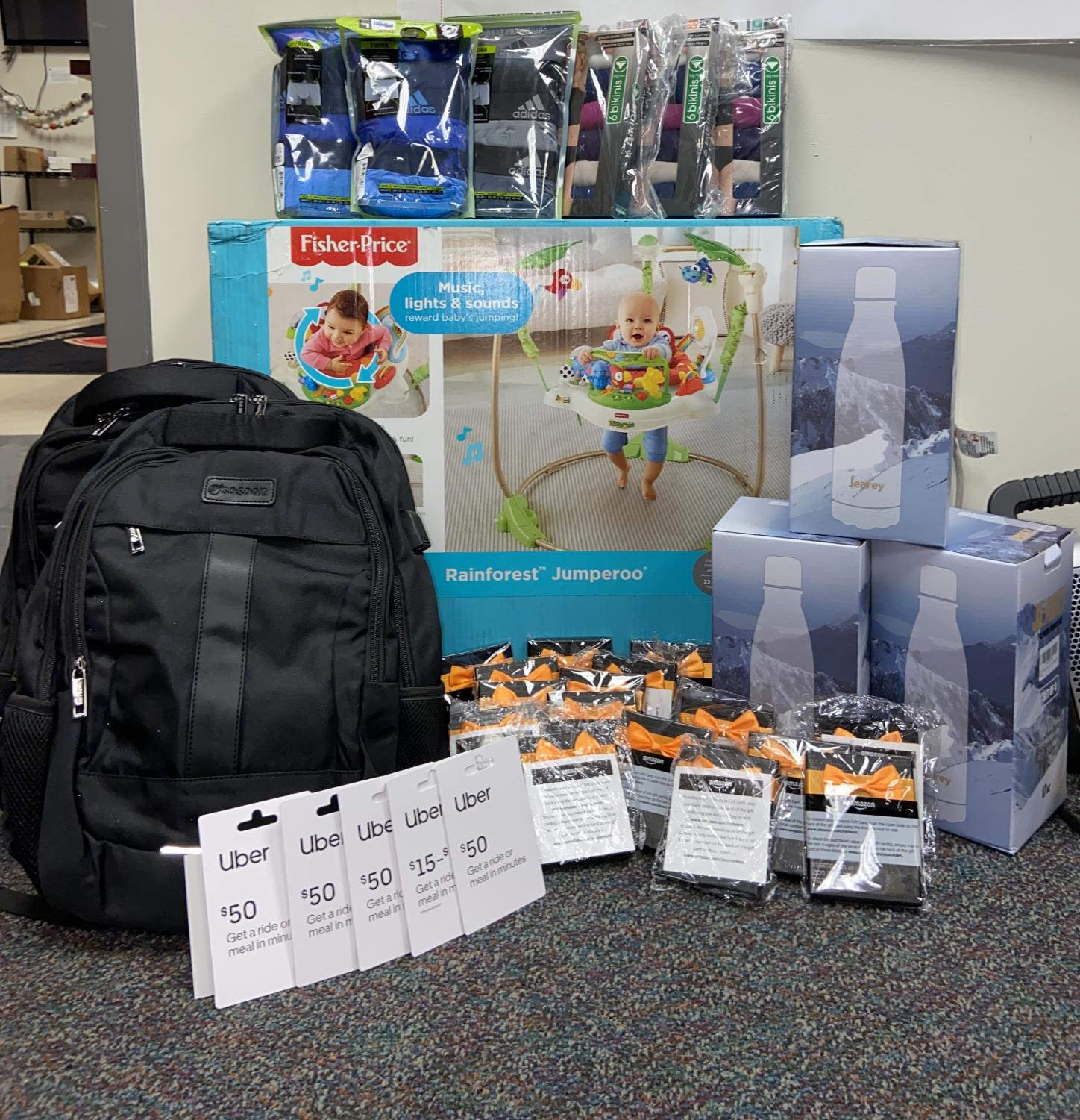 GOODIES GALORE: Grady Cares raises Backbacks, Amazon giftcards, waterbottles, Uber giftcards, underwear, and baby's play toys to be donated to students and families in need. Overall, this community organization has raised over $10,000 in goods and services.
