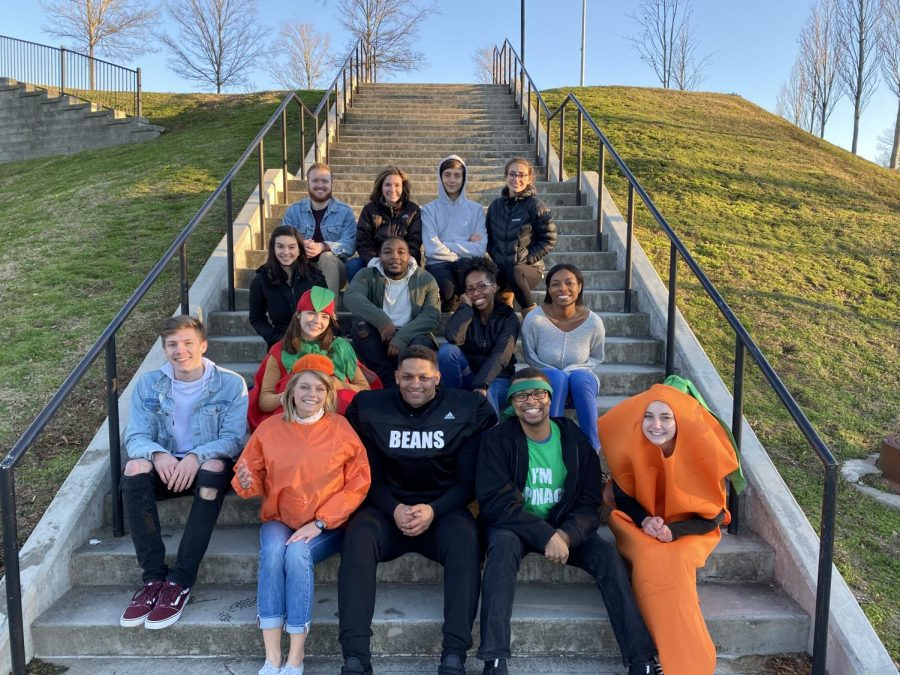 EAT YOUR VEGGIES: Wade and members of the High Steaks team pose after shooting a promotional video at North Atlanta High School in January. The video promoted the benefits of eating plant-based.