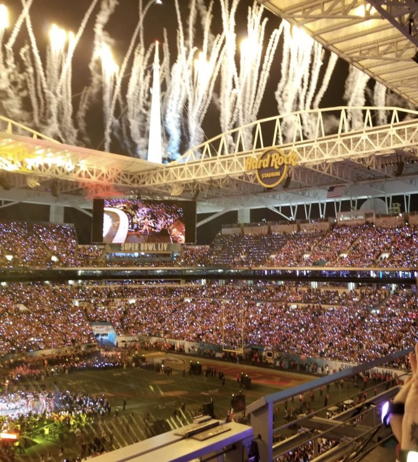 Fireworks illuminate Jennifer Lopez and Shakira as they preform at halftime of the Super Bowl.