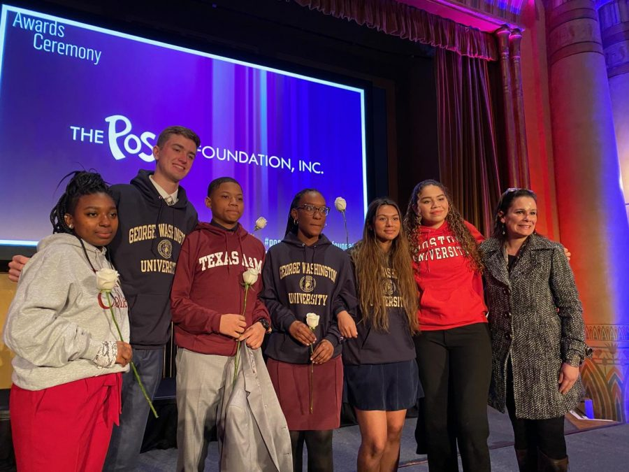 Jack Palaian (second from left) gathers with Atlanta Public Schools  scholarship recipients at the Posse awards ceremony on Jan. 8. (From left to right) Recipients included Shania Baker, Palaian, Jelani Spain, Hasina Chimeka-Tisdale, Gabriela Oliveros, Maria Nino Suastegui and school board member Michelle Olympiadis.