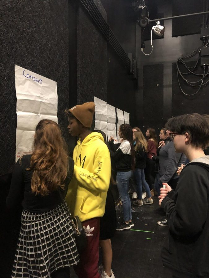 Students gather around posters to discuss the ages at which topics such as consent and sexuality should be discussed in school.