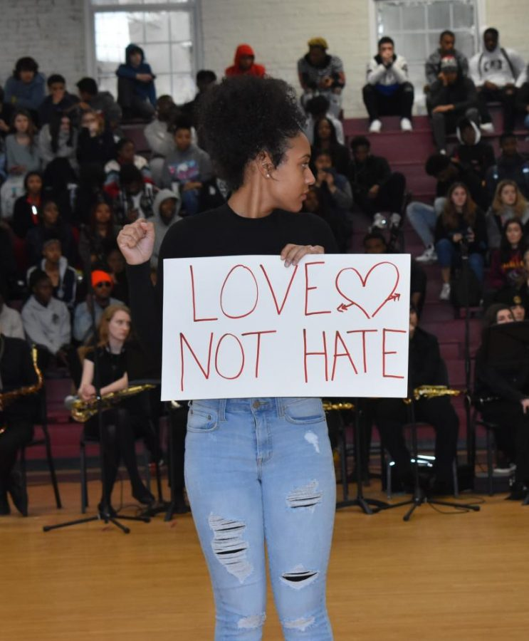 Senior Amarie Blackshear participates in her friend Katherine Thomas heartfelt performance of a song she wrote for her dad who died by police brutality.