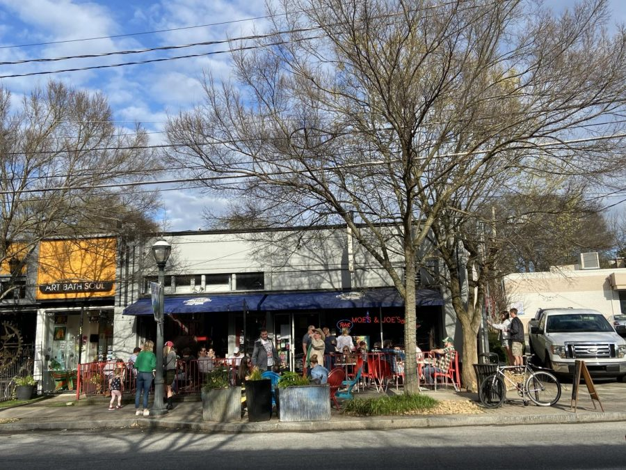Atlantans gather at popular bar and restaurant Moes and Joes on Sunday March 15 amid the growing global pandemic.