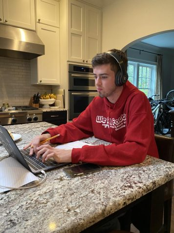 Senior Jack Palaian, like students across Atlanta Public Schools, does schoolwork from home during the coronavirus pandemic that shut down schools. Most assignments are delivered through Google Classroom.