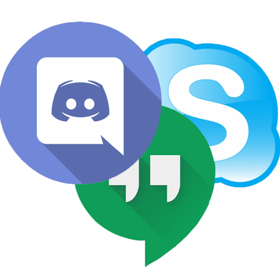 Icons of the main 3 online chat services. Discord, Google Hangouts, and Skype