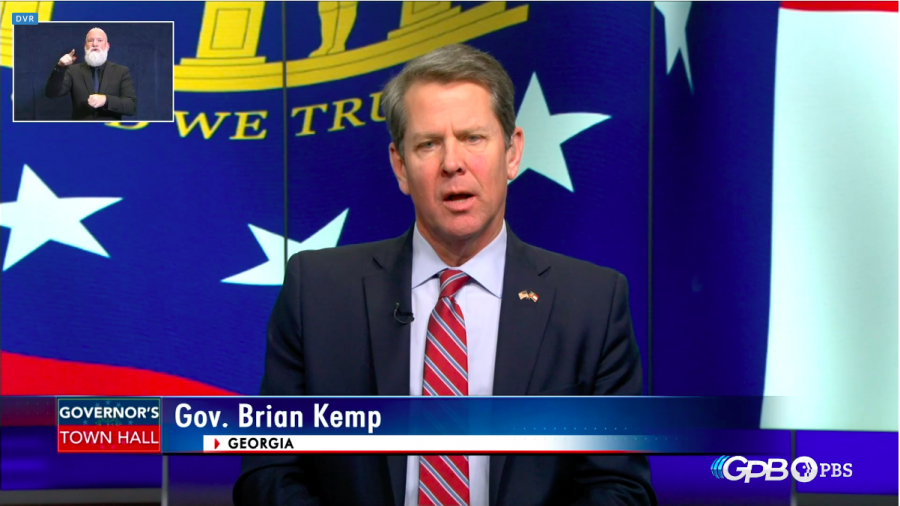 Gov.+Brian+Kemp+addressed+the+state%27s+response+to+the+COVID-19+outbreak+Thursday+night+in+a+live+public+broadcast.+