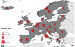 The image shows a graphic distribution of COVID-19 in Europe.