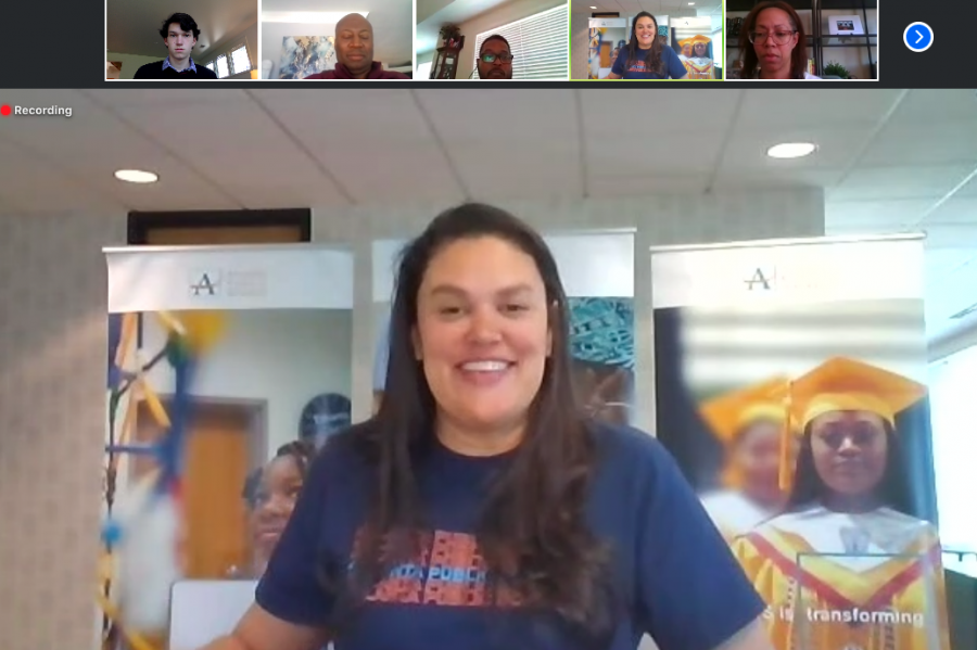 Atlanta+Public+Schools+Superintendent+Dr.+Meria+Carstarphen+speaks+at+a+virtual+media+roundtable+about+the+impact+COVId-19+has+had+the+2019-2020+school+year.+