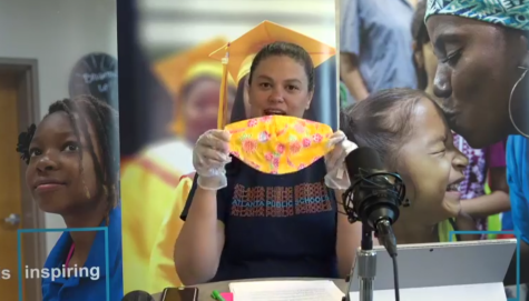 MADE WITH LOVE: During the virtual town hall, Atlanta Public Schools superintendent Dr. Meria Carstarphen held up a mask her mother sewed and encouraged others to sew masks.