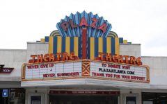 The Plaza Theatre, located in the Briarcliff Plaza Shopping Center, displays encouraging message,