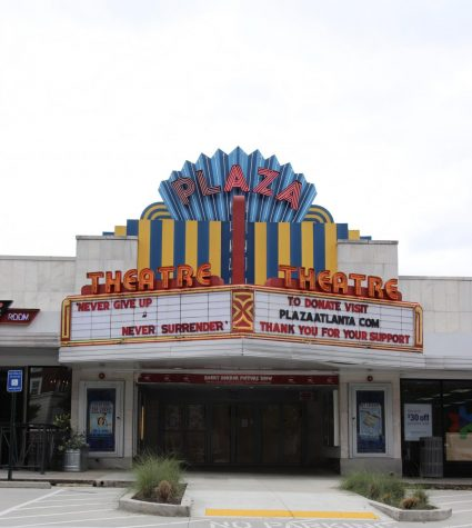"The Plaza Theatre, located in the Briarcliff Plaza Shopping Center, displays encouraging message, ""Never give Up, Never Surrender"". They also display the link for donations to help the theatre re-open. The Plaza Theatre is one of Atlanta"