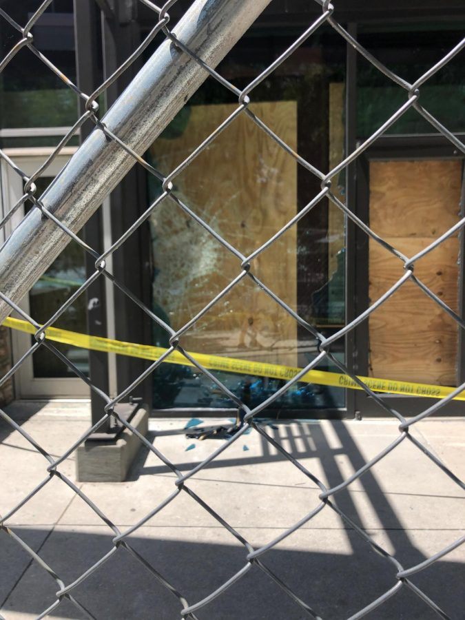 The aftermath of protests on May 29 and 30 in downtown Atlanta included smashed windows.