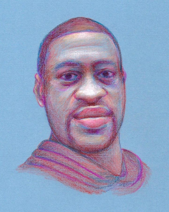 George Floyd is pictured in a hand-drawn portrait using colored pencils by senior Joanna Baker. Baker sells merchandise featuring the drawing on Redbubble in order to raise money for the Atlanta Solidarity Fund.