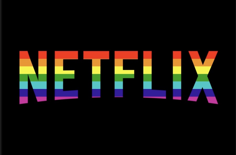 The Netflix logo depicted with a rainbow flag, the symbol of LGBTQ+ pride.