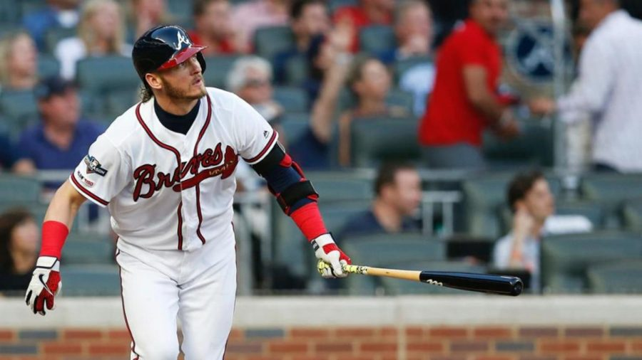 TOMAHAWK+CHOP%3A+One+of+the+Braves%27+trademarks+is+the+symbol+of+the+tomahawk%2C+which+appears+on+their+jerseys+in+the+picture+above%2C+and+use+of+the+tomahawk+chop+as+a+cheer.+However%2C+some+members+of+the+Native+American+community+feel+disrespected+by+the+imagery%2C+and+the+Braves+have+even+been+called+out+by+players+of+opposing+teams+who+identify+as+Native+American.