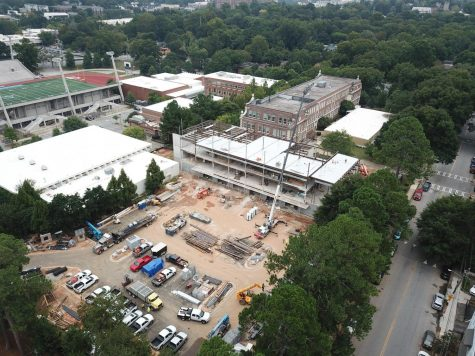 Arial view of Grady's new building shows construction and progress. The building is set to be completed by May 2021.