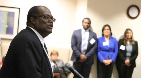 Neil Williams speaks at the ceremony for his promotion to Nathaniel R. Jones Professor of Law at Loyola University Chicago's School of Law in 2009. Having taught at Loyola for thirty years at the time of his promotion, Williams is the inaugural recipient of the title. The accolade's namesake, the Honorable Nathaniel R. Jones served as a judge on the US Court of Appeals for the Sixth Circuit and as general counsel of the National Association for the Advancement of Colored People.