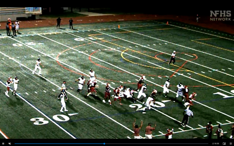 Grady's defense recovers a fumble and runs it into the endzone against Fayette County, seen virtually.