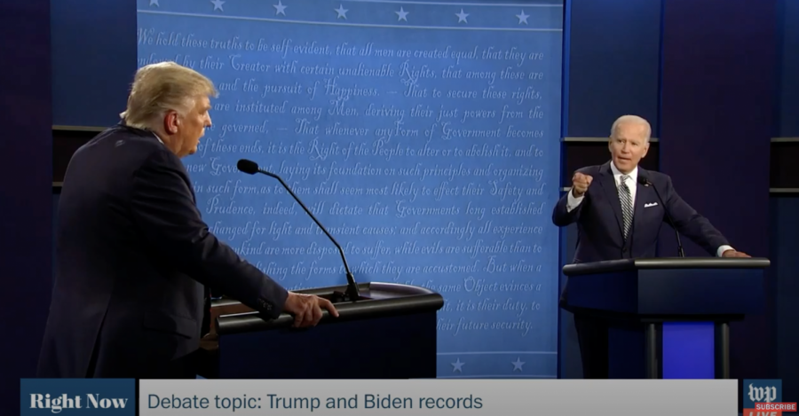 President Donald Trump and former Vice President Joesph Biden spar on the debate stage at Case Western Reserve University. The debate was full of interruptions and personal jabs by both candidates.