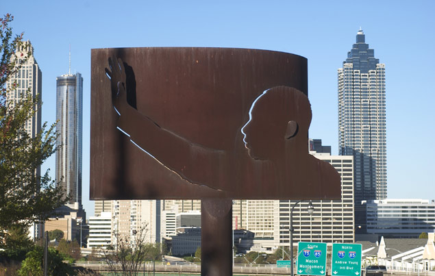 Sculpture of Martin Luther King Jr. adorns John Lewis Freedom Parkway in Atlanta. The word freedom is a common namesake in the city and a proposed name for Grady High School.