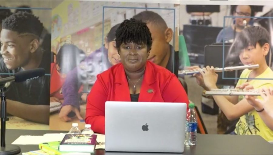 District Superintendent Dr. Lisa Herring addresses stake holders at the virtual town hall meeting on Sept. 24.