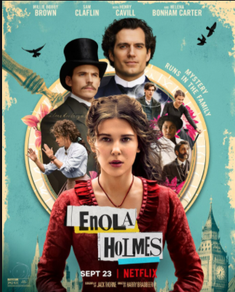 Depicted is the official movie poster for Enola Holmes, created by Netflix.