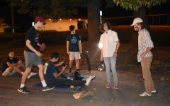 Senior Jack DiCarlo directs a night scene for his movie with the working title,